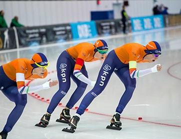 Ploegen achtervolging schaatsen met Sven Kramer